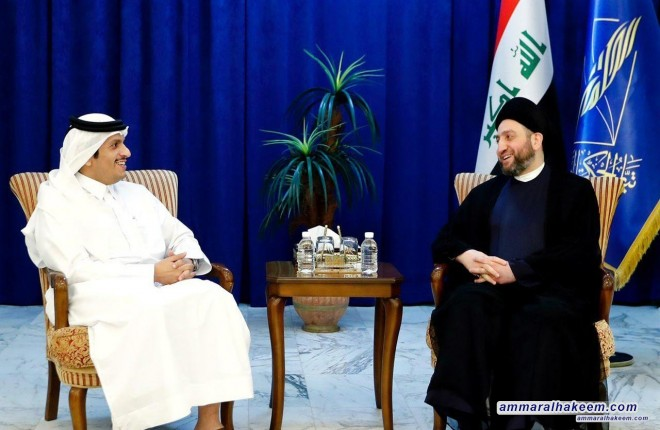 Sayyid Ammar al-Hakim receives Deputy Prime Minister and Minister of Foreign Affairs of Qatar and calls to spare the region the effects of conflicts
