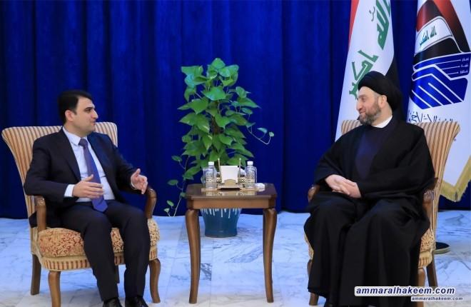 السيد عمار الحكيم يستقبل وفد الحزب الديمقراطي الكردستاني ويشدد على حسم الخلافات واستكمال الكابينة الحكومية