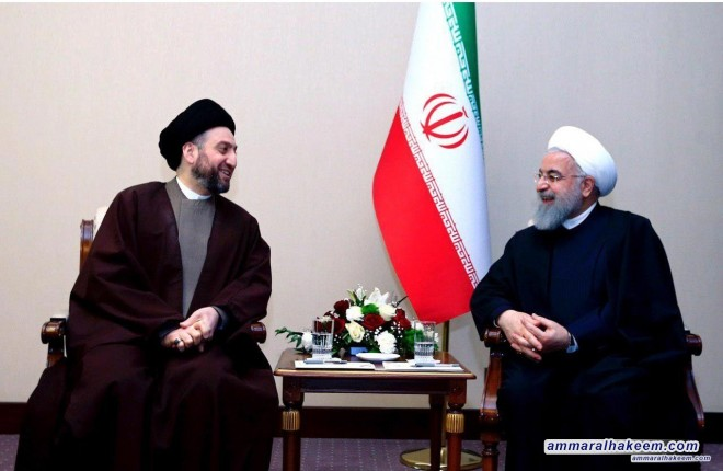 Sayyid Ammar al-Hakim meets Iranian President Sheikh Hassan Rouhani to discuss bilateral relations between Iraq and Iran