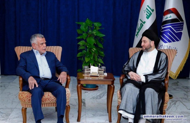 Sayyid Ammar al-Hakim receives Amiri and stresses the need to support vacant ministries with efficient personages