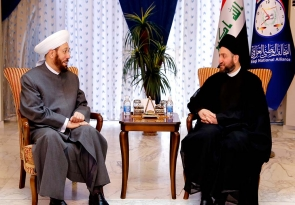 رئيس التحالف الوطني السيد عمار الحكيم يبحث مع المفتي العام السوري توحيد كلمة الأمة الإسلاميَّة إزاء التحدِّيات التي تمرُّ بها