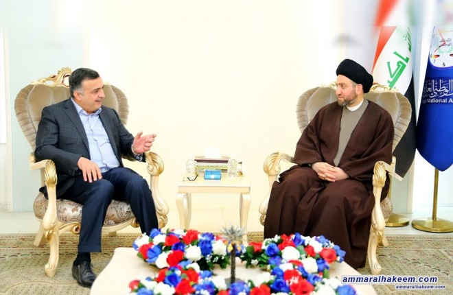 Sayyid Ammar al-Hakim receives Jamal al-Karbouli to discuss latest developments in the political situation and the upcoming electoral practice