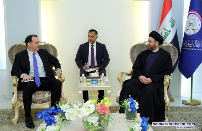 Meeting with Mr. McGurk, Sayyid Ammar al-Hakim stresses holding elections on the date set on the constitution