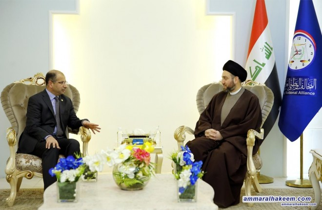 Sayyid Ammar al-Hakim receives the Speaker of the Council of Representatives to discuss commitment to the constitutional timing of the elections