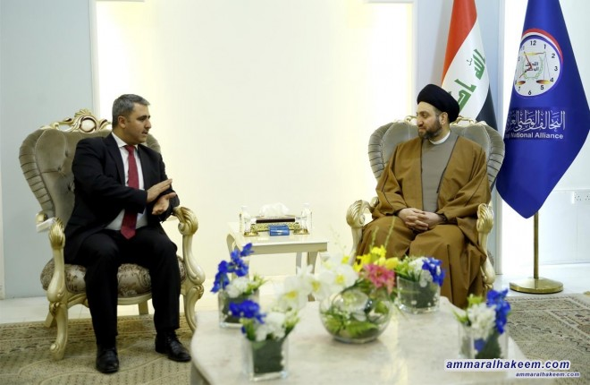 Sayyid Ammar al-Hakim meets with Aram Shiekh Mohammed to discuss commitment to hold elections on time and calls for passing the election law