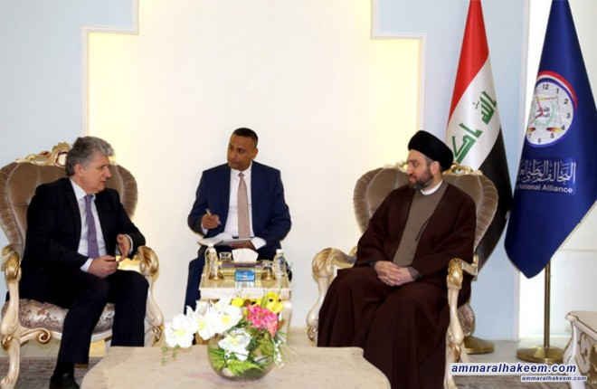 Sayyid Ammar al-Hakim with the Assistant Secretary-General of the United Nations for Political Affairs to discuss required support to Iraq at the forthcoming donor conference