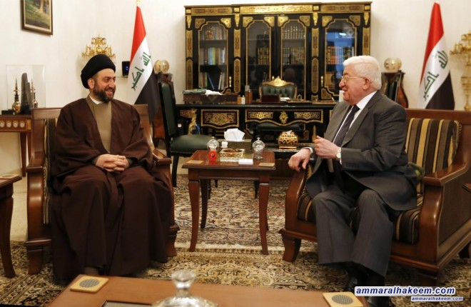 Sayyid Ammar al-Hakim with the President of Iraq to discuss commitment to the constitutional schedule of parliamentary elections