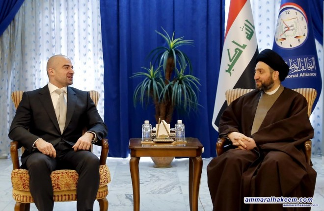 Meeting Bafel Talabani …Sayyid Ammar al-Hakim stresses on Constitution-based dialogue between the federal government and the Kurdistan Regional Government
