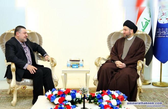 Sayyid Ammar al-Hakim receives the President of the Iraqi National Congress to discuss the updates on situation in Iraq