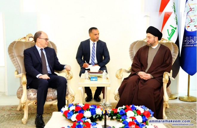 Sayyid Ammar al-Hakim with the American ambassador to discuss political developments and upcoming elections