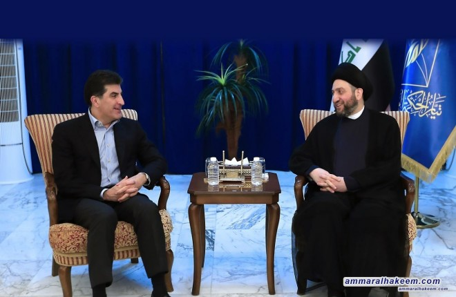 Sayyid Ammar al - Hakim with Mr. Nechirvan Barzani to discuss president post
