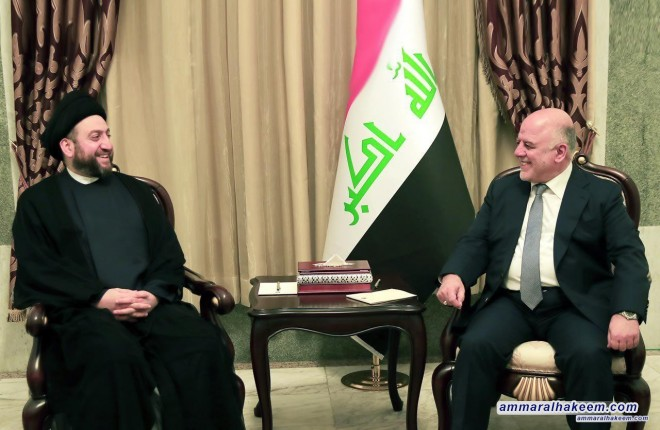 Sayyid Ammar al-Hakim meets Prime Minister Dr. Haider al-Abadi to discuss the latest developments in the political situation