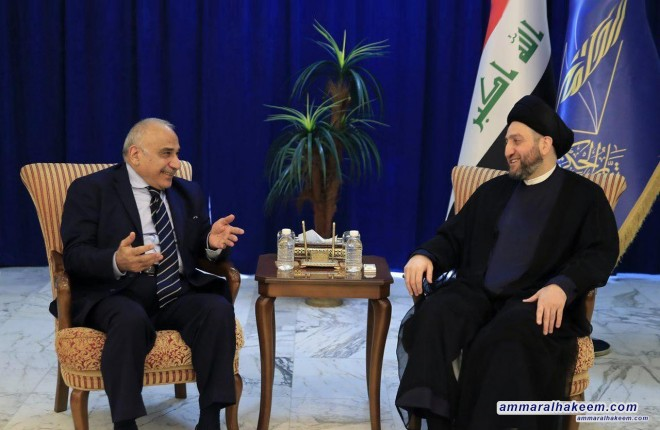 Sayyid Ammar al-Hakim receives Prime Minister-designate Adil Abdul-Mahdi to discuss forming the government