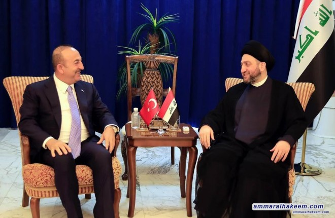 Sayyid Ammar al-Hakim receives Turkish Foreign Minister to discuss bilateral relations and Iraq's water quotas