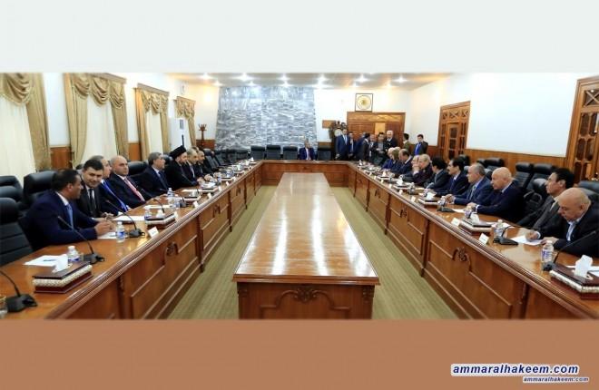 وفد الاصلاح والاعمار برئاسة السيد عمار الحكيم يبحث مع المكتب السياسي للديمقراطي الكردستاني الاستحقاقات القادمة وتشكيل الحكومة