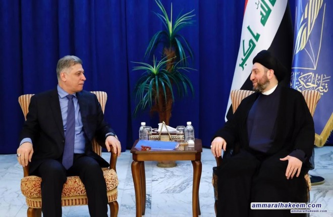 Sayyid Ammar al-Hakim receives Arshad al-Salhi to discuss forming the government and the status of components