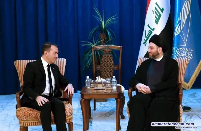 السيد عمار الحكيم يستقبل فاتح يلدز سفير تركيا لدى العراق ويبحث معه العلاقات الثنائية بين البلدين