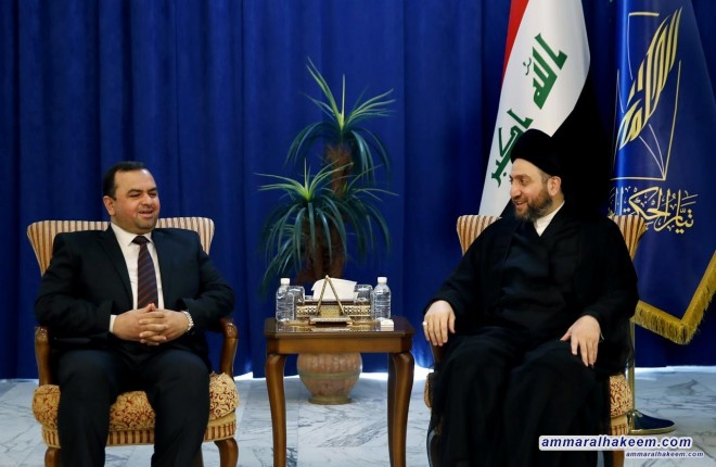 Sayyid Ammar al-Hakim with the Al-Fadhila Party delegation headed by Abdul-Hussein al-Moussawi to discuss latest political situation and forming the government