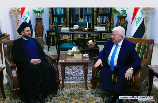 السيد عمار الحكيم يشيد بجهود الدكتور فؤاد معصوم في رئاسته لجمهورية العراق في المرحلة السابقة