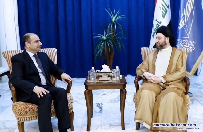 Sayyid Ammar Al-Hakim with Dr. Salim Al-Jubouri to discuss completion of the government cabinet and provision of services