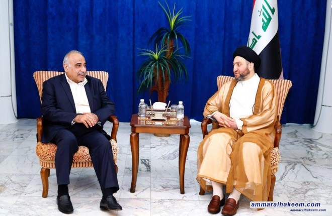 Sayyid Ammar al-Hakim receives the Prime Minister Mr. Adel Abdul-Mahdi to discuss completing the government cabinet
