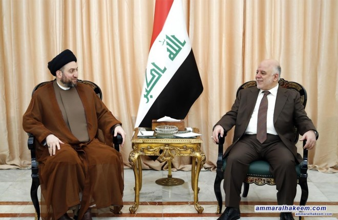 Sayyid Ammar al-Hakim meets with Dr. Abadi to discuss latest political situation and institutionalization of the Reform and Reconstruction Alliance