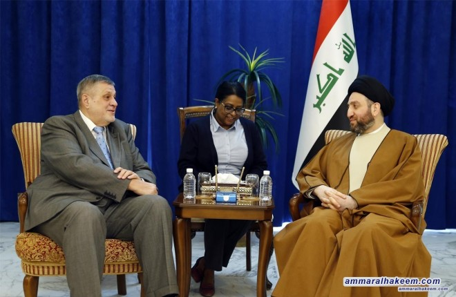Sayyid Ammar al-Hakim affirms to Kubis the harmony of the three presidencies and government's support to achieve reforms