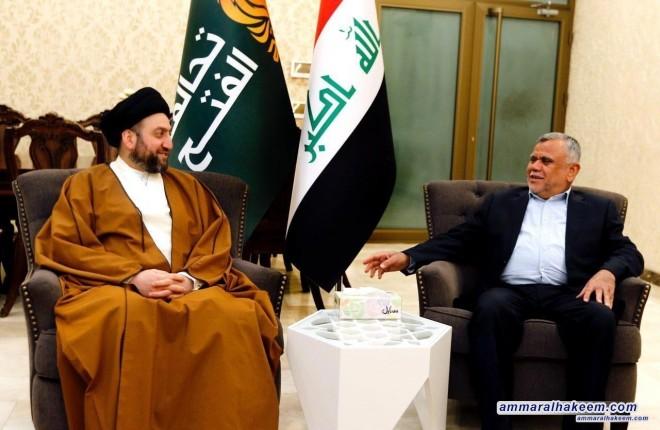 السيد عمار الحكيم يطالب خلال لقائه العامري الكتل السياسية بالتنازل للعراق وتغليب المصلحة العامة