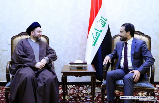 Sayyid Ammar al-Hakim meets the Speaker of the Iraqi Council of Representatives to discuss upcoming entitlements and completing government cabinet