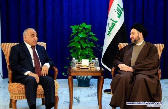 Sayyid Ammar al-Hakim with the Prime Minister, Mr. Adil Abdul-Mahdi to discuss latest developments in the political situation and completing government cabinet