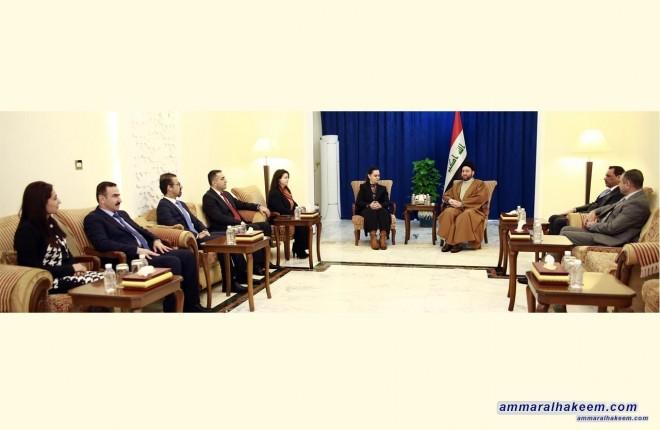 السيد عمار الحكيم يبحث مع وفد الاتحاد الوطني الكردستاني مستجدات الوضع السياسي واستكمال الكابينة الحكومية