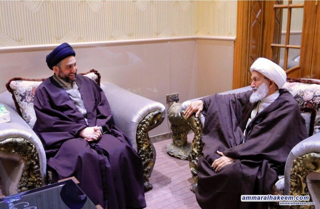 Sayyid Ammar al-Hakim meets Ayatollah Sheikh Isa Qassim welcomes his blessed presence to Iraq and Holy Najaf