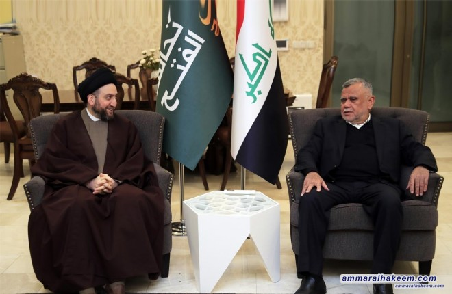 Sayyid Ammar al-Hakim meets Amiri, emphasizes unifying visions among Reform and Reconstruction Alliance and The Al-Bina Alliance for public interest