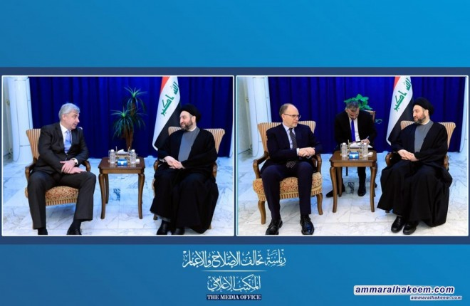 Sayyid Ammar al-Hakim receives American and Russian ambassadors to discuss latest developments in the political situation in Iraq and the region
