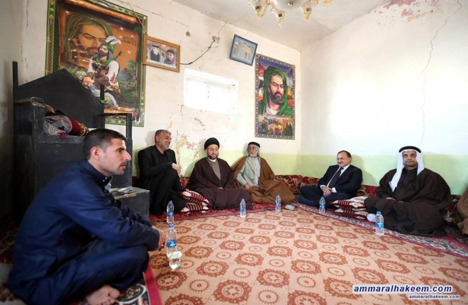 Sayyid Ammar al-Hakim visited families of the martyrs in Dhi Qar province and calls to expedite providing rights