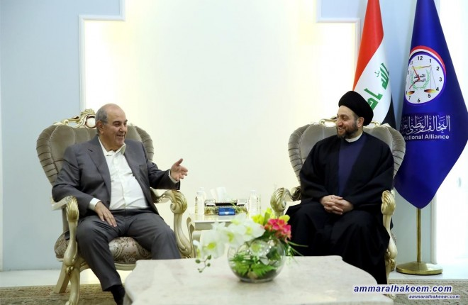 Sayyid Ammar al-Hakim receives Dr. Iyad Allawi to discuss the developments of the national and regional political situation