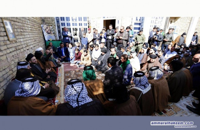 Sayyid Ammar al-Hakim visits the families of martyrs in Missan and the family of the martyr Saleh al-Bukhati