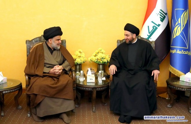 Sayyid Ammar al-Hakim with Sayyid Moqtada al-Sadr to discuss groundworks for the upcoming elections and the entitlement of the next phase