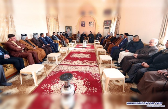 Sayyid Ammar al-Hakim meets Chieftains of Shammar tribe, Sayhoud al-Faleh and Chieftains of Quraish tribe, Jabbar Farhoud