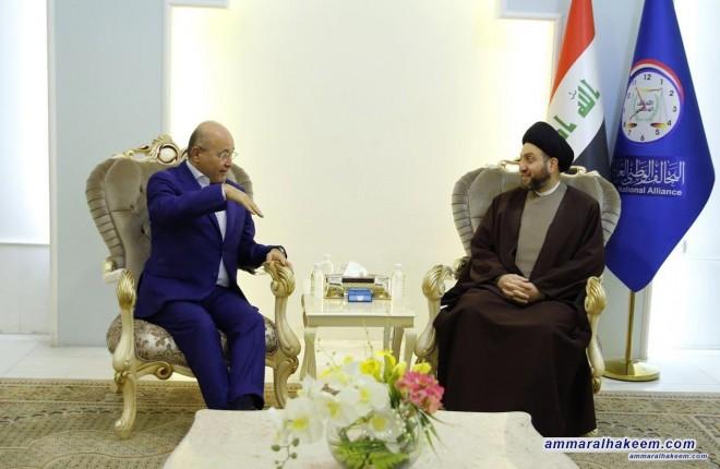 السيد عمار الحكيم يبحث مع رئيس تحالف الديمقراطية والعدالة الدكتور برهم صالح مستجدات الوضع السياسي والازمة بين بغداد واربيل