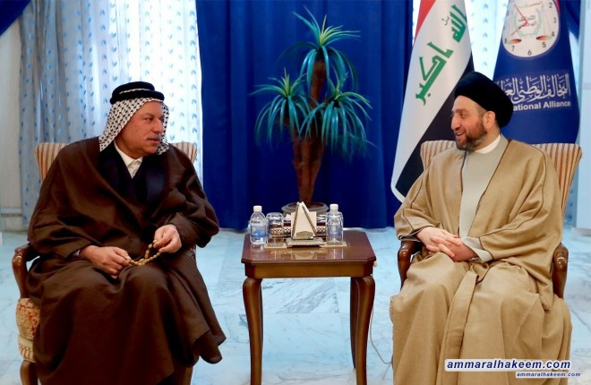 Sayyid Ammar al-Hakim to receive the Amir of Bani Hasan tribes, Sheikh Muthanna Hatem al-Hassan, and a number of elders and princely tribal figures