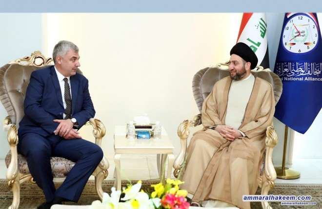 Sayyid Ammar al-Hakim receives the Russian ambassador and calls for strengthening relations on various levels