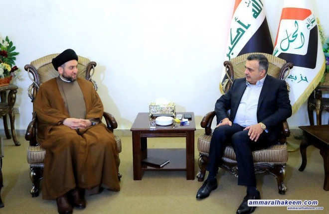 Sayyid Ammar al-Hakim meets head the Al-Hal Party Jamal Karbouli to discuss latest political situation and upcoming election