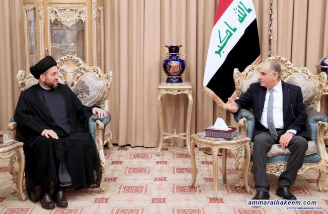 Sayyid Ammar al-Hakim meets Saleh al-Mutlaq to discuss the upcoming elections and providing appropriate atmosphere for elections
