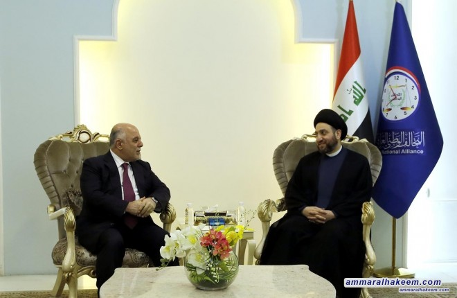 Sayyid Ammar al-Hakim with Dr. Haider Abadi to discuss the next electoral scene and the positive view of the world towards Iraq