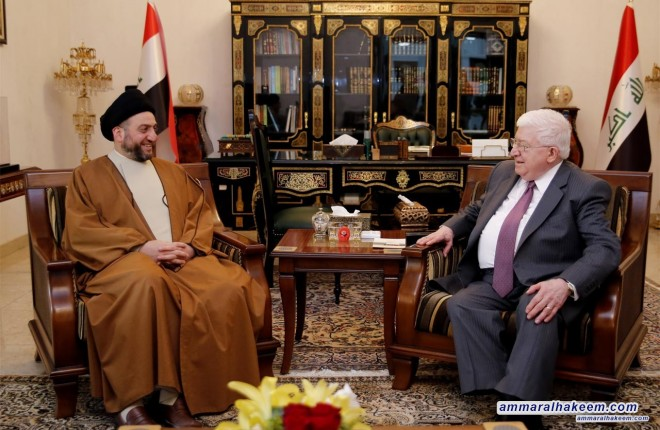 Sayyid Ammar al-Hakim meets the President of Iraq to discuss latest developments in the political situation and elections