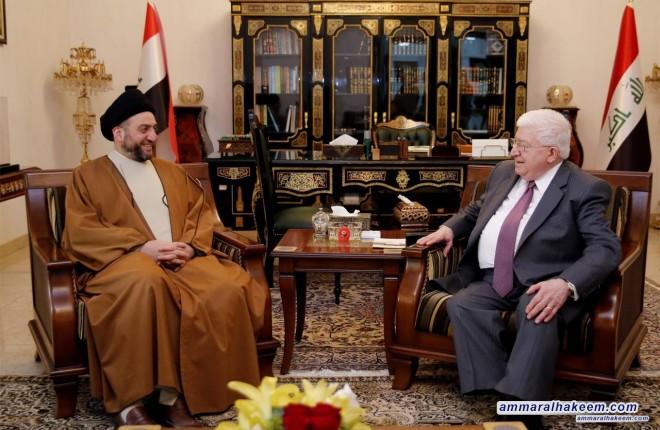 السيد عمار الحكيم يلتقي رئيس الجمهورية ويبحث معه مستجدات الوضع السياسي والمشهد الانتخابي القادم