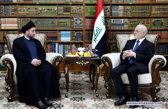 Sayyid Ammar al-Hakim meets Minister of Foreign Affairs Ibrahim al-Jaafari to discuss the investing international community's positive reading towards Iraq