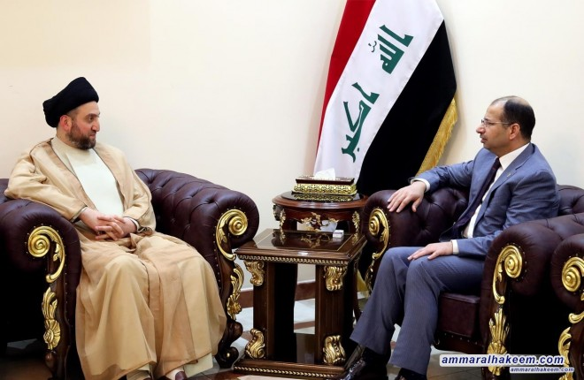 Sayyid Ammar al-Hakim meets Speaker of Council of Representatives Salim al-Jubouri to discuss latest developments in political situation and upcoming electoral practice