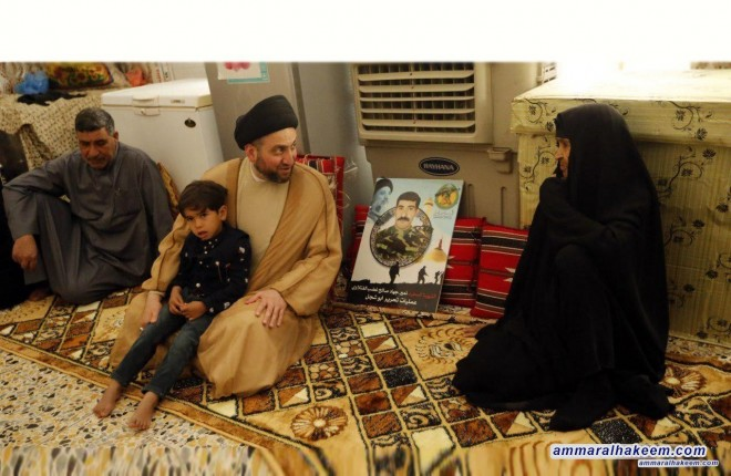 Sayyid Ammar al-Hakim visits a number of martyrs' families and calls for fairness